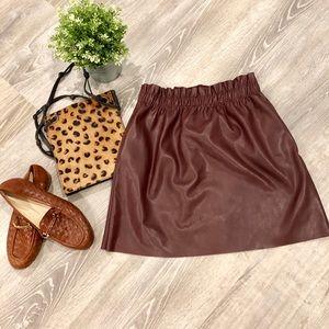 NWOT ZARA Knit Faux Leather Skirt